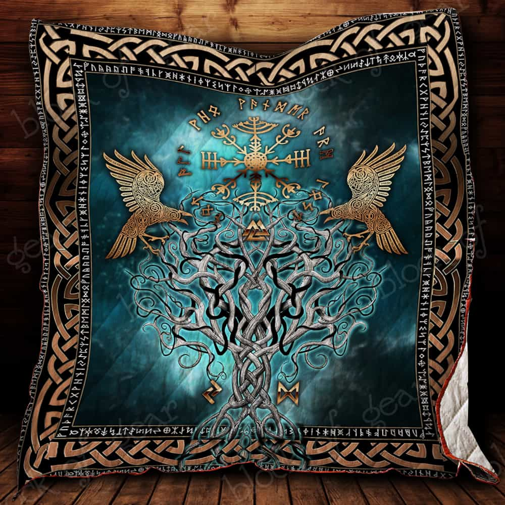 compass vegvisir viking all over printed quilt 2