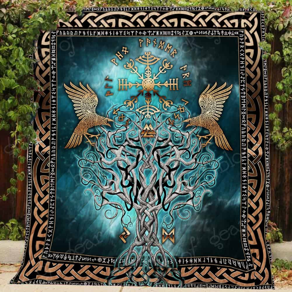 compass vegvisir viking all over printed quilt 3