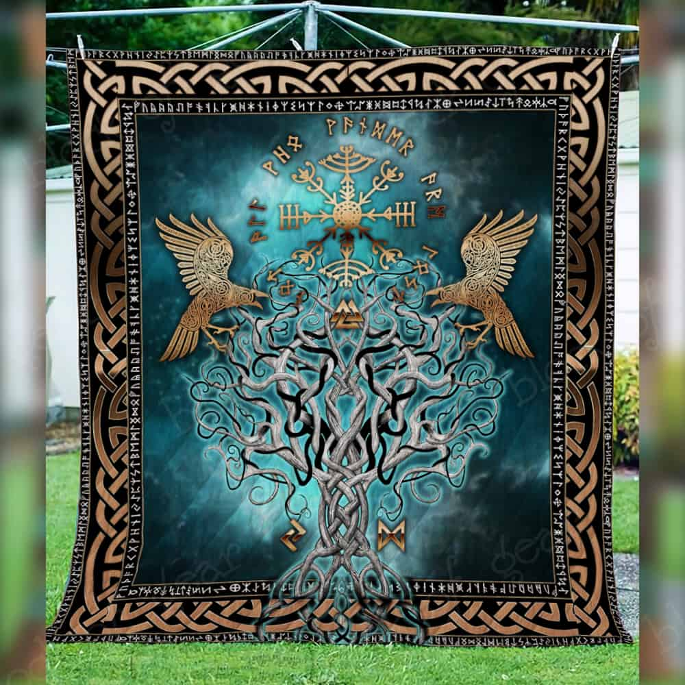 compass vegvisir viking all over printed quilt 4