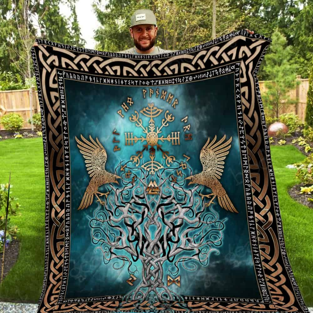 compass vegvisir viking all over printed quilt 5