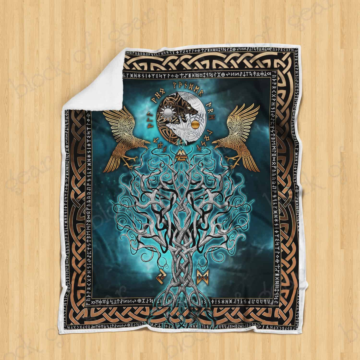 compass yggdrasil viking all over printed blanket 2