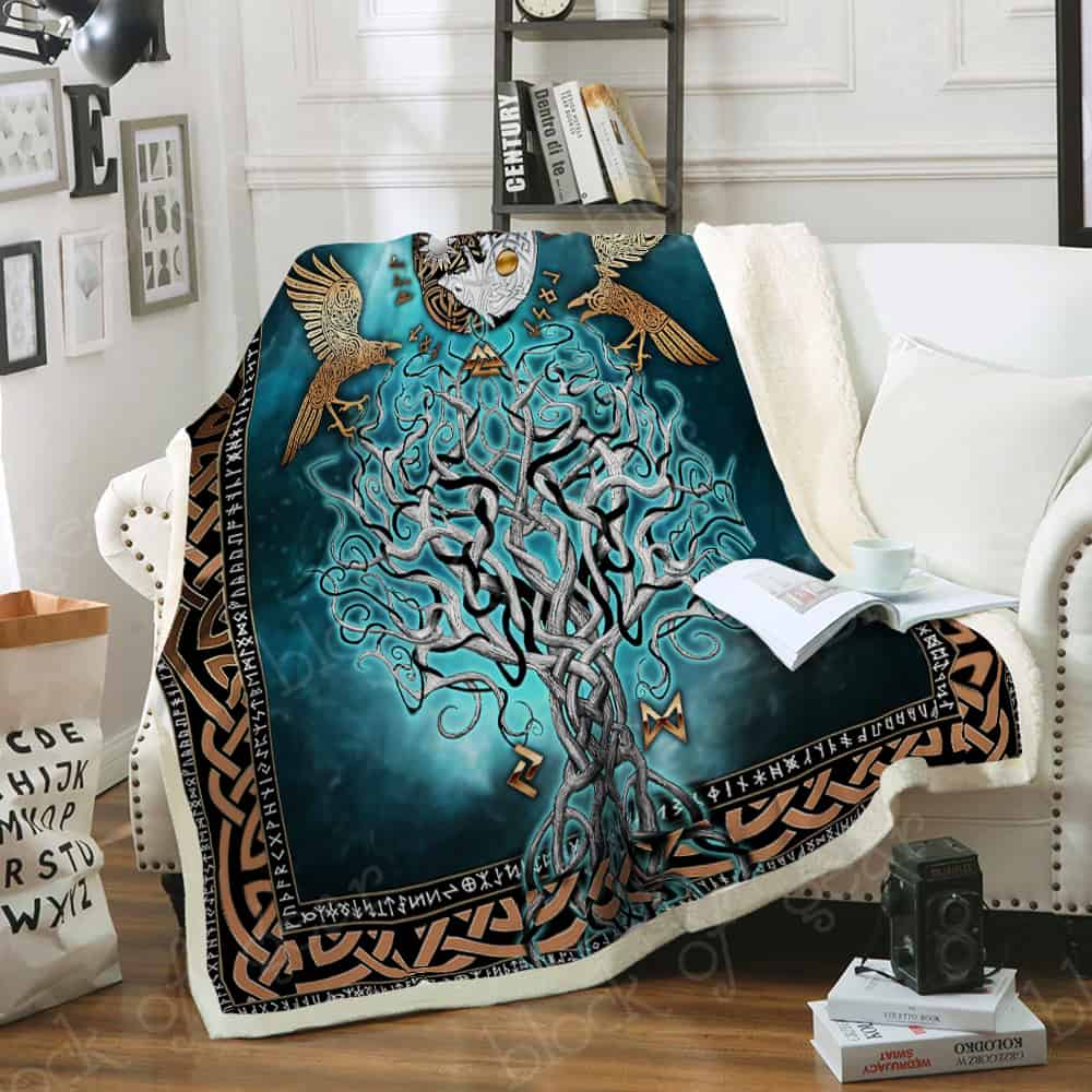 compass yggdrasil viking all over printed blanket 4
