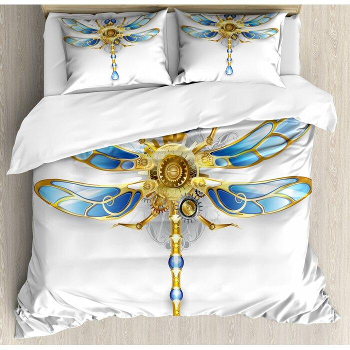 crystal dragonfly all over printed bedding set 3