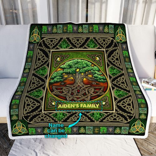 custom your name irish tree of life st patricks day all over printed blanket 4