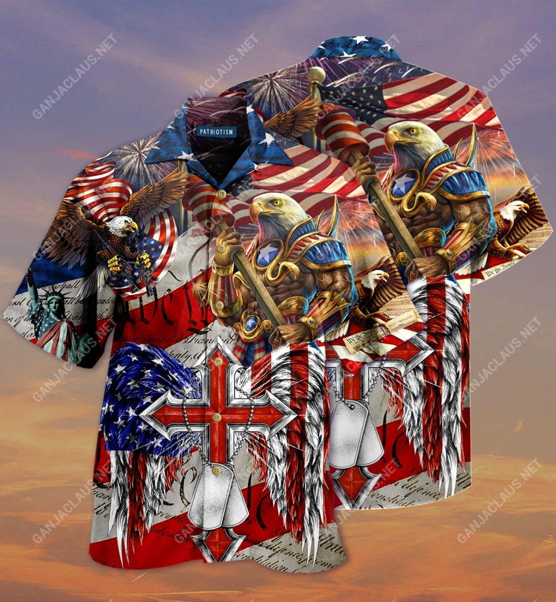 eagles patriotism america flag full printing hawaiian shirt 2