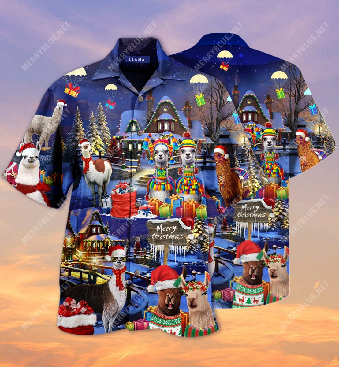fa la la llama and merry christmas full printing hawaiian shirt 2