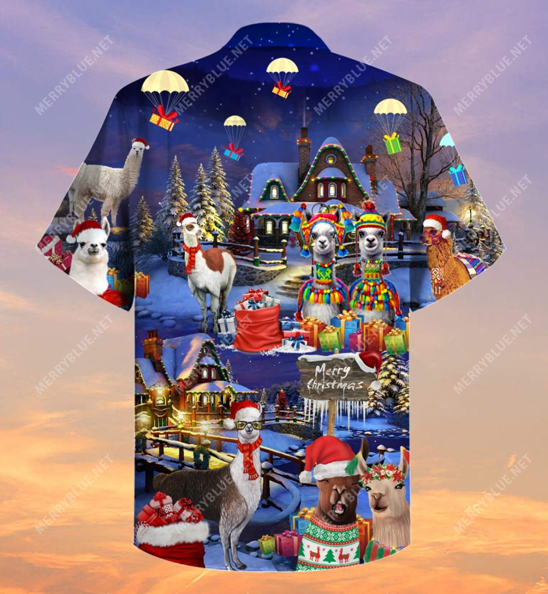 fa la la llama and merry christmas full printing hawaiian shirt 4