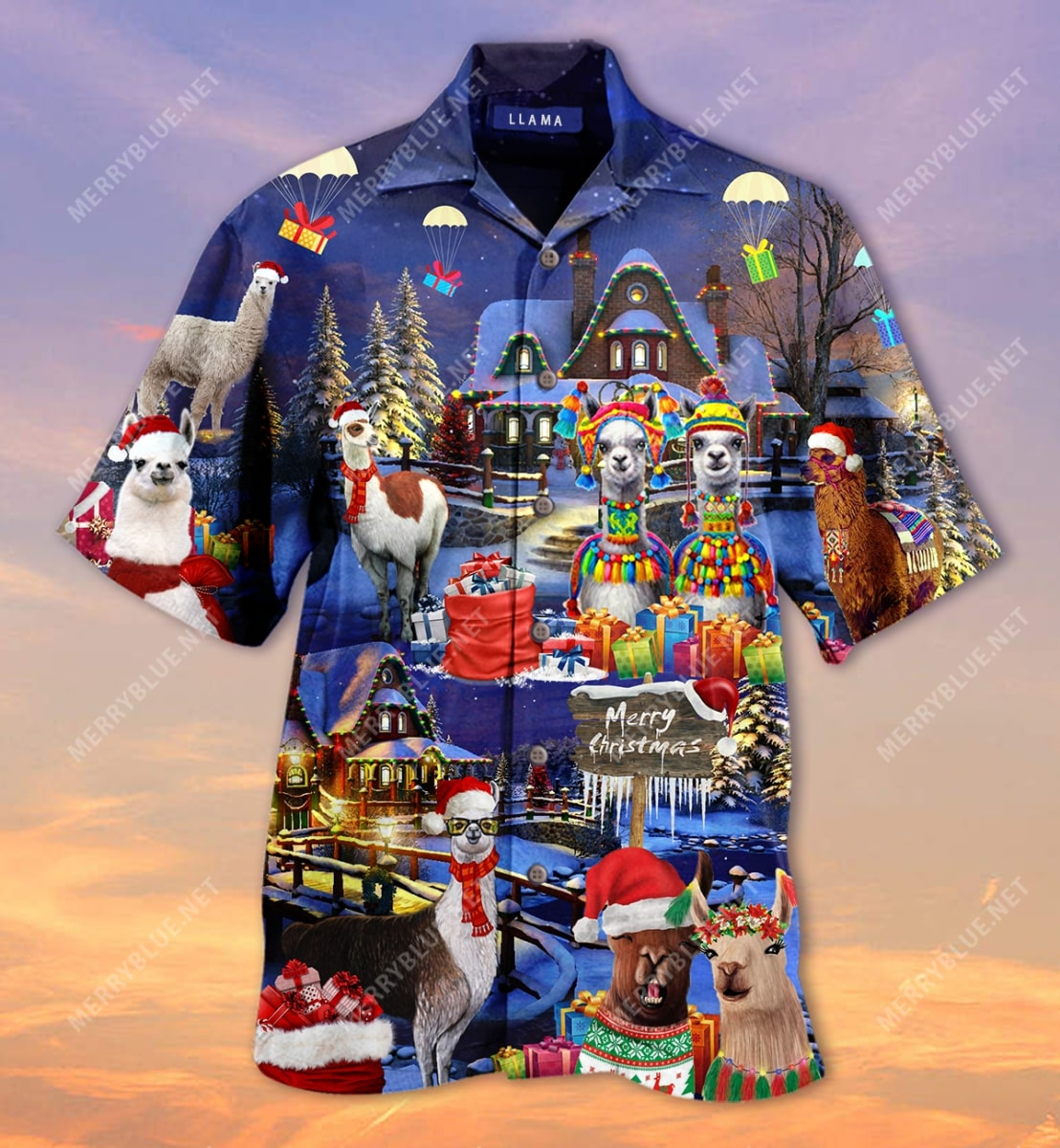 fa la la llama and merry christmas full printing hawaiian shirt 5