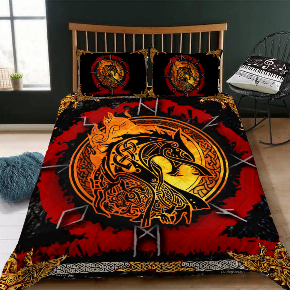 fenrir norse wolf viking all over printed bedding set 3