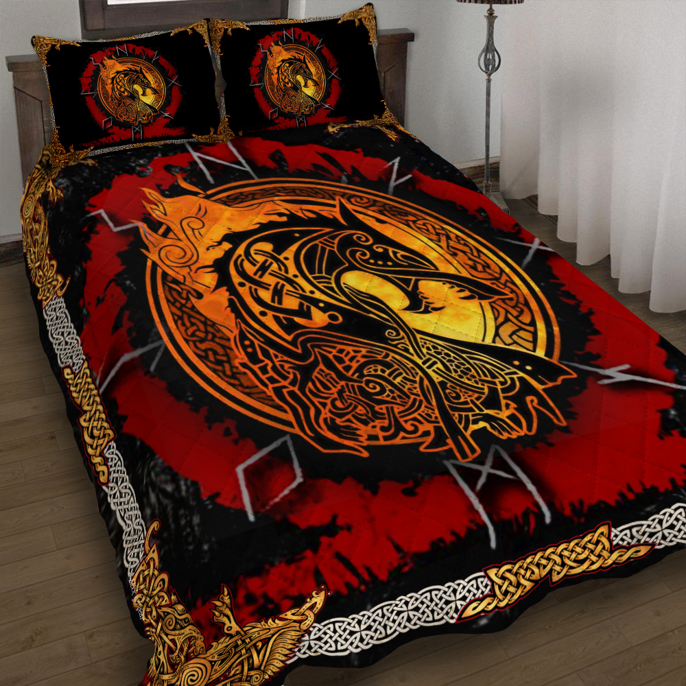 fenrir norse wolf viking all over printed bedding set 4