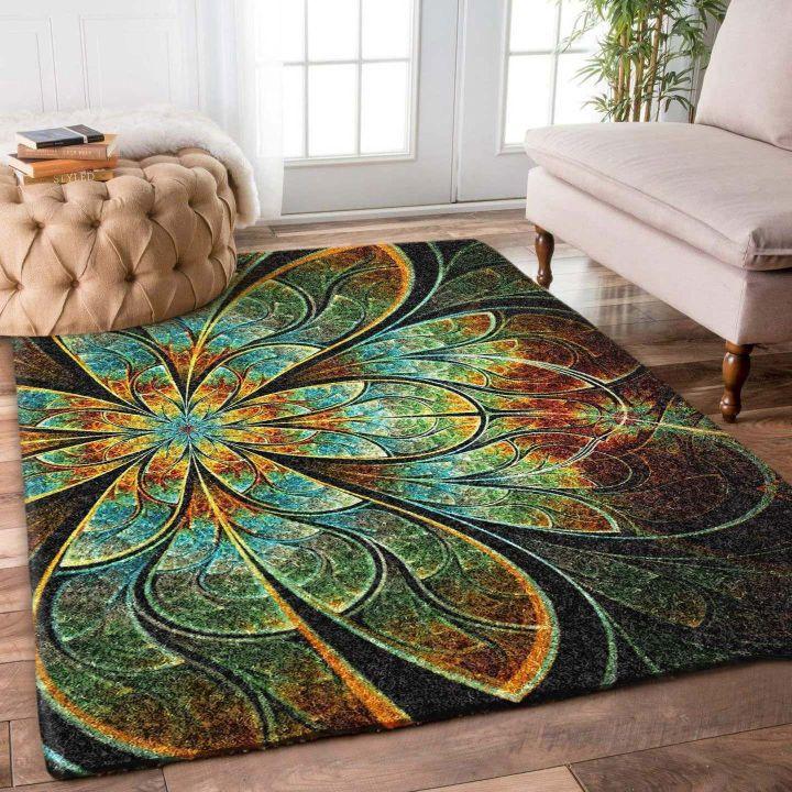 fractal flower retro all over printed rug 2