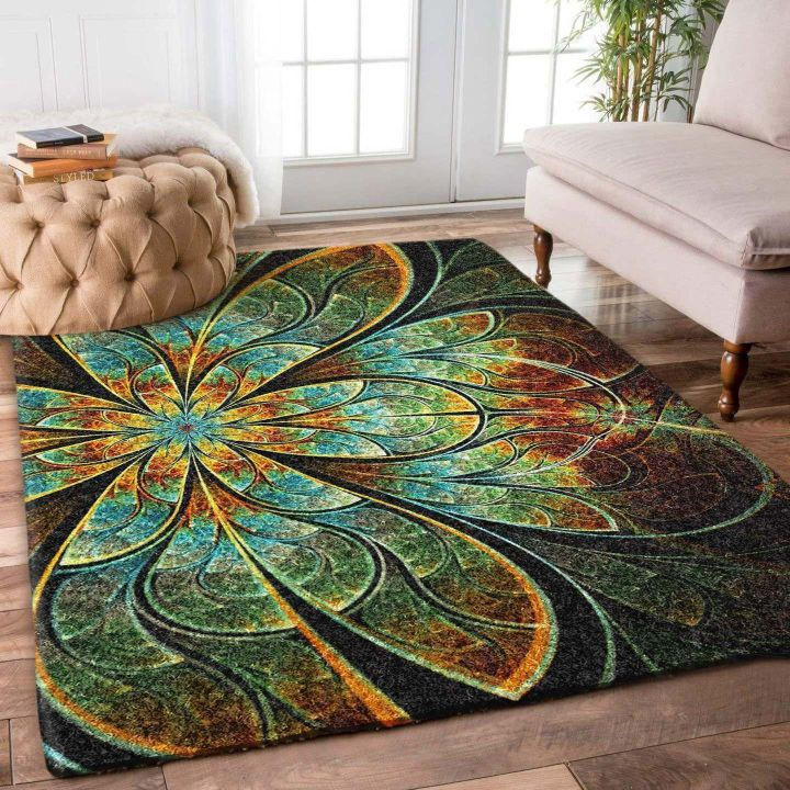 fractal flower retro all over printed rug 5