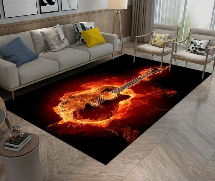 guitar on fire all over printed rug 2