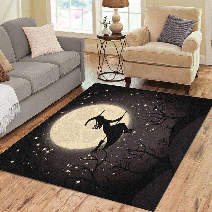 halloween night and the witch all over printed rug 3