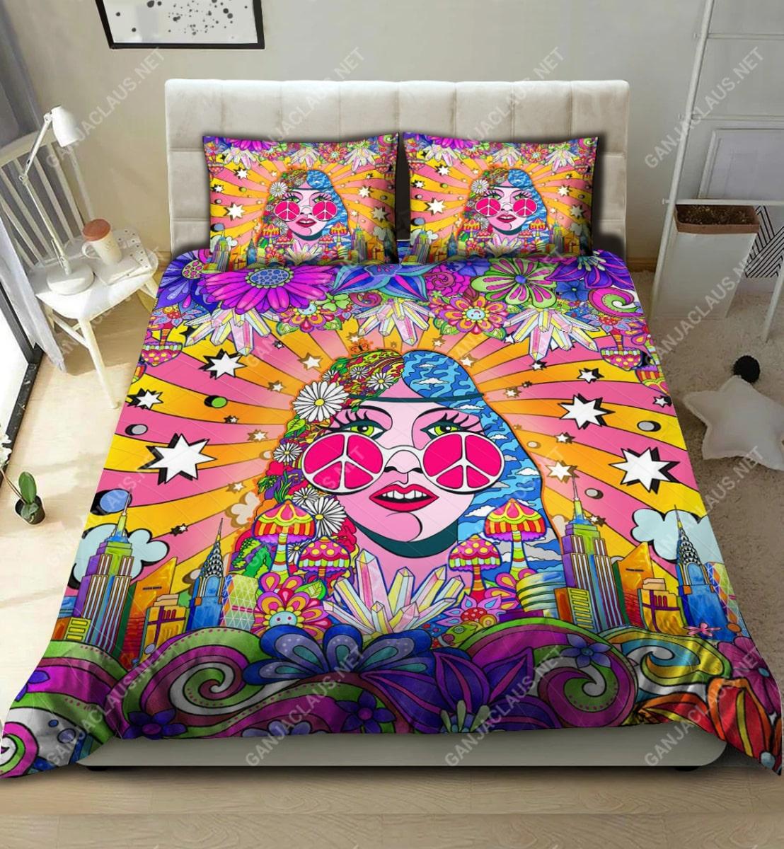 hippie girl colorful full printing bedding set 2