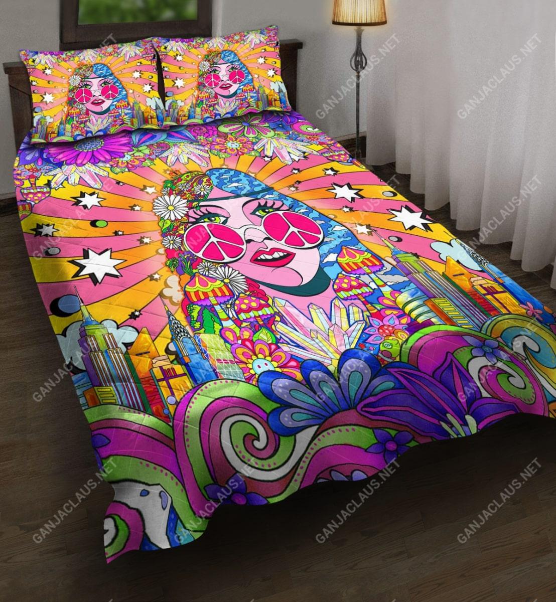 hippie girl colorful full printing bedding set 3
