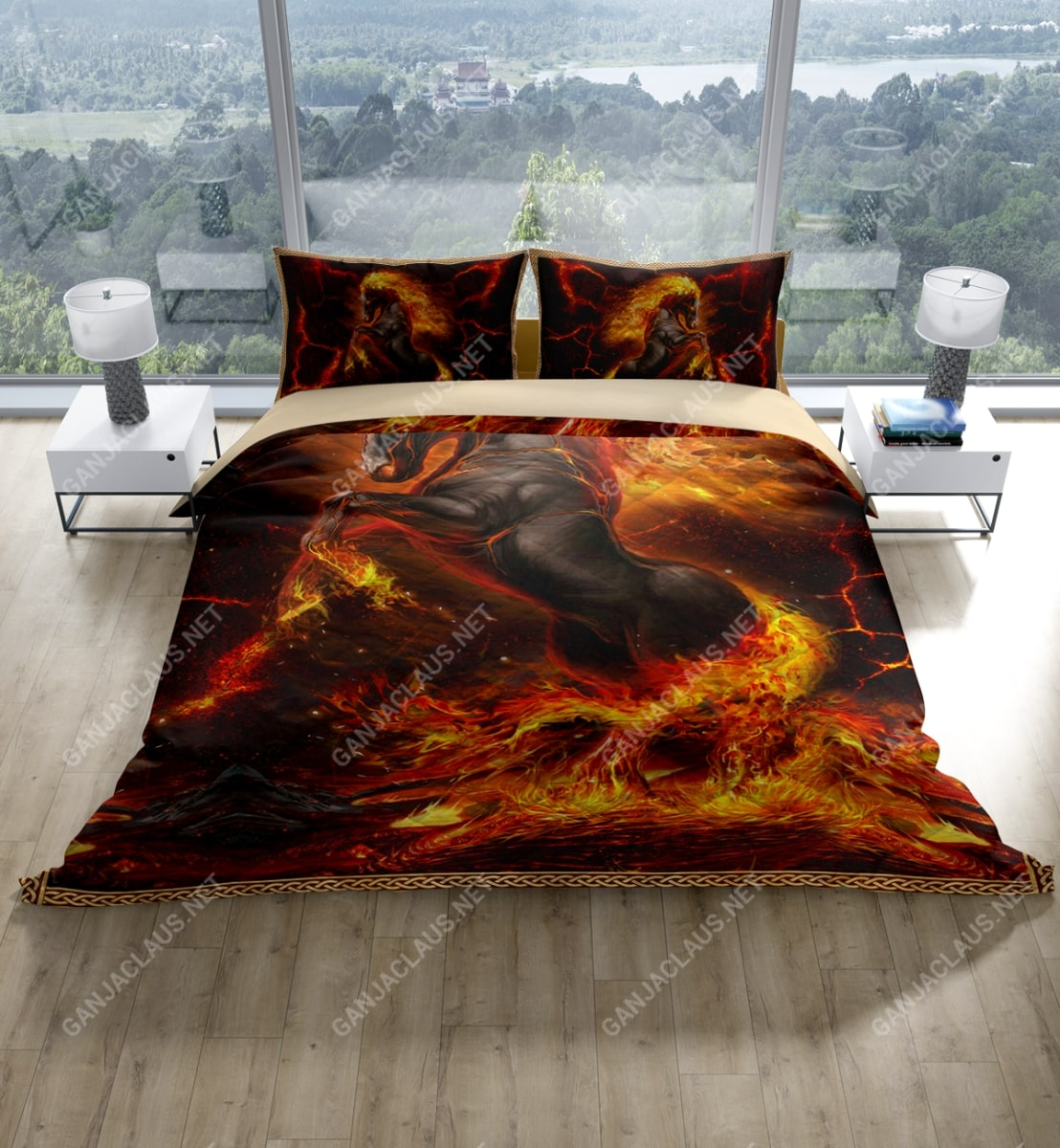 horses and fire full printing bedding set 3