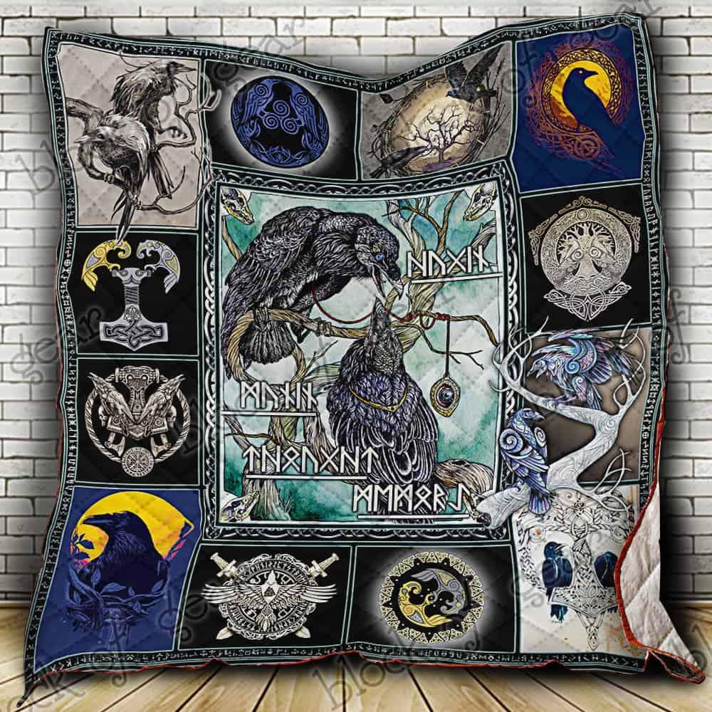 huginn and muninn viking symbol all over print quilt 2