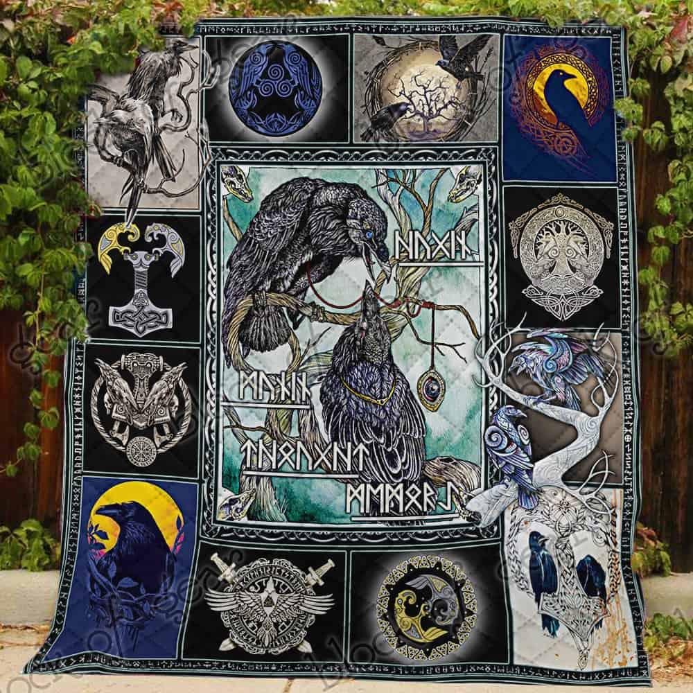 huginn and muninn viking symbol all over print quilt 3