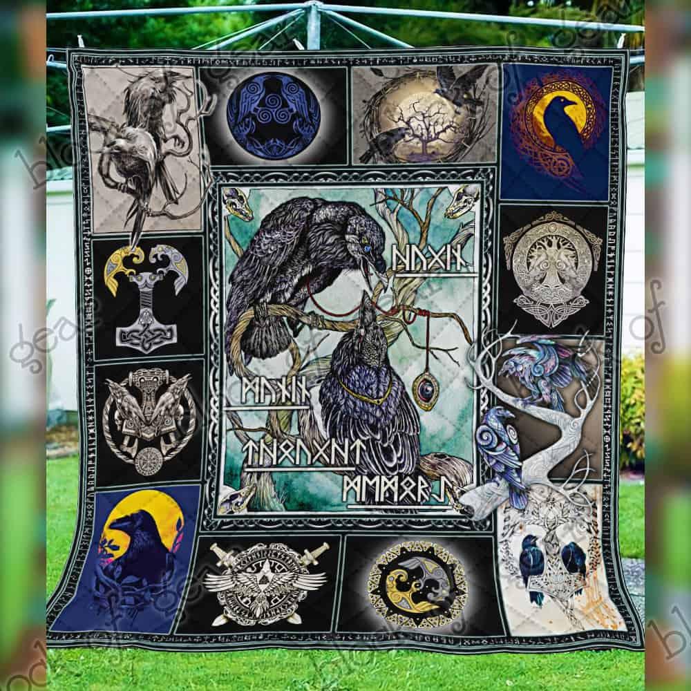 huginn and muninn viking symbol all over print quilt 4