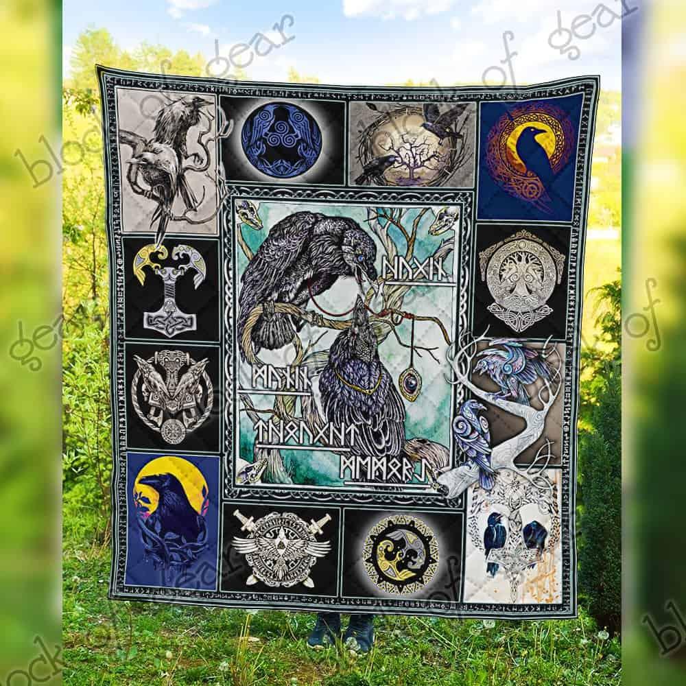 huginn and muninn viking symbol all over print quilt 5