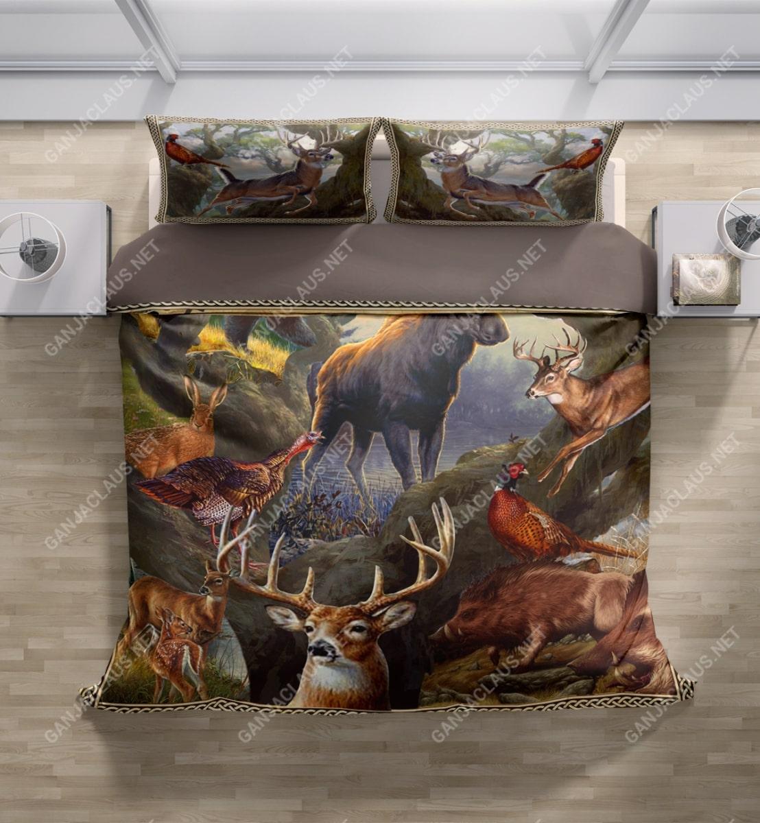 hunting deer full printing bedding set 3