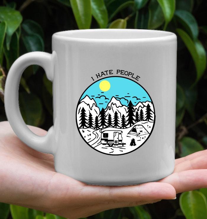 i hate people camping mug 2