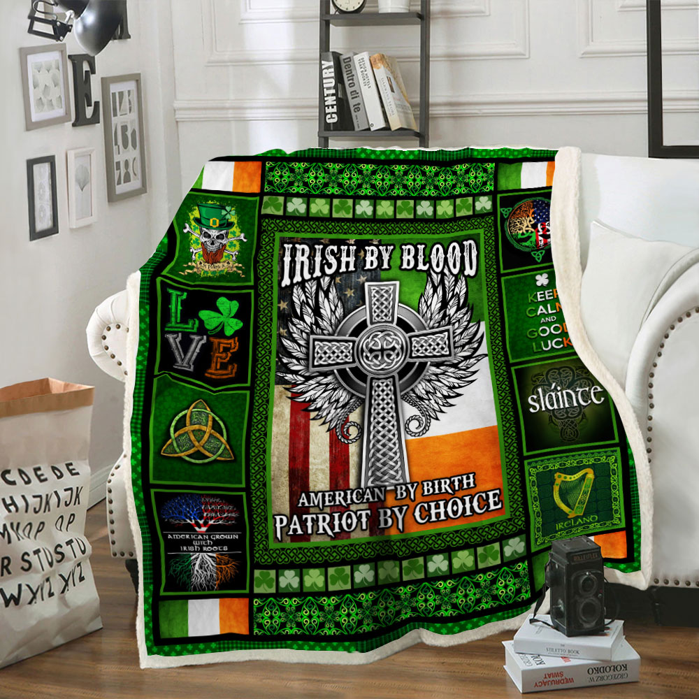 irish by blood american by birth patriot by choice all over printed blanket 3