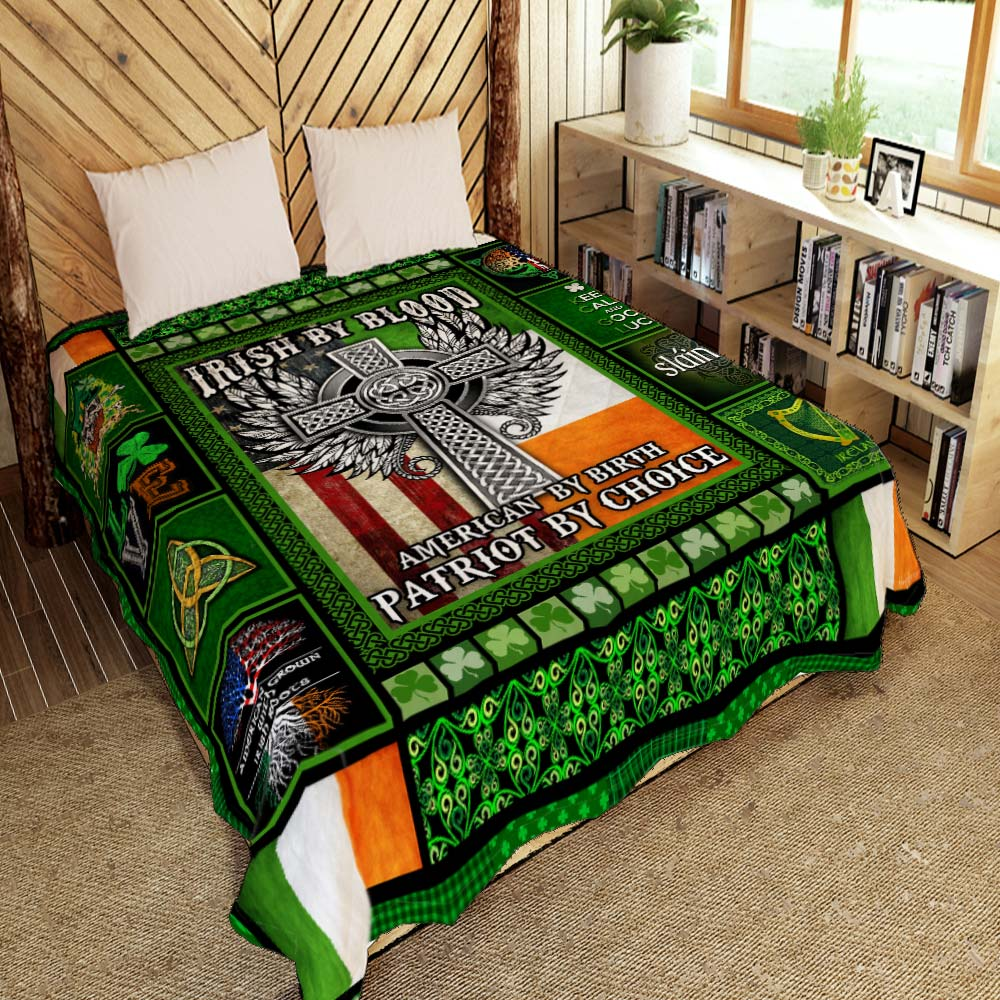 irish by blood american by birth patriot by choice all over printed quilt 2
