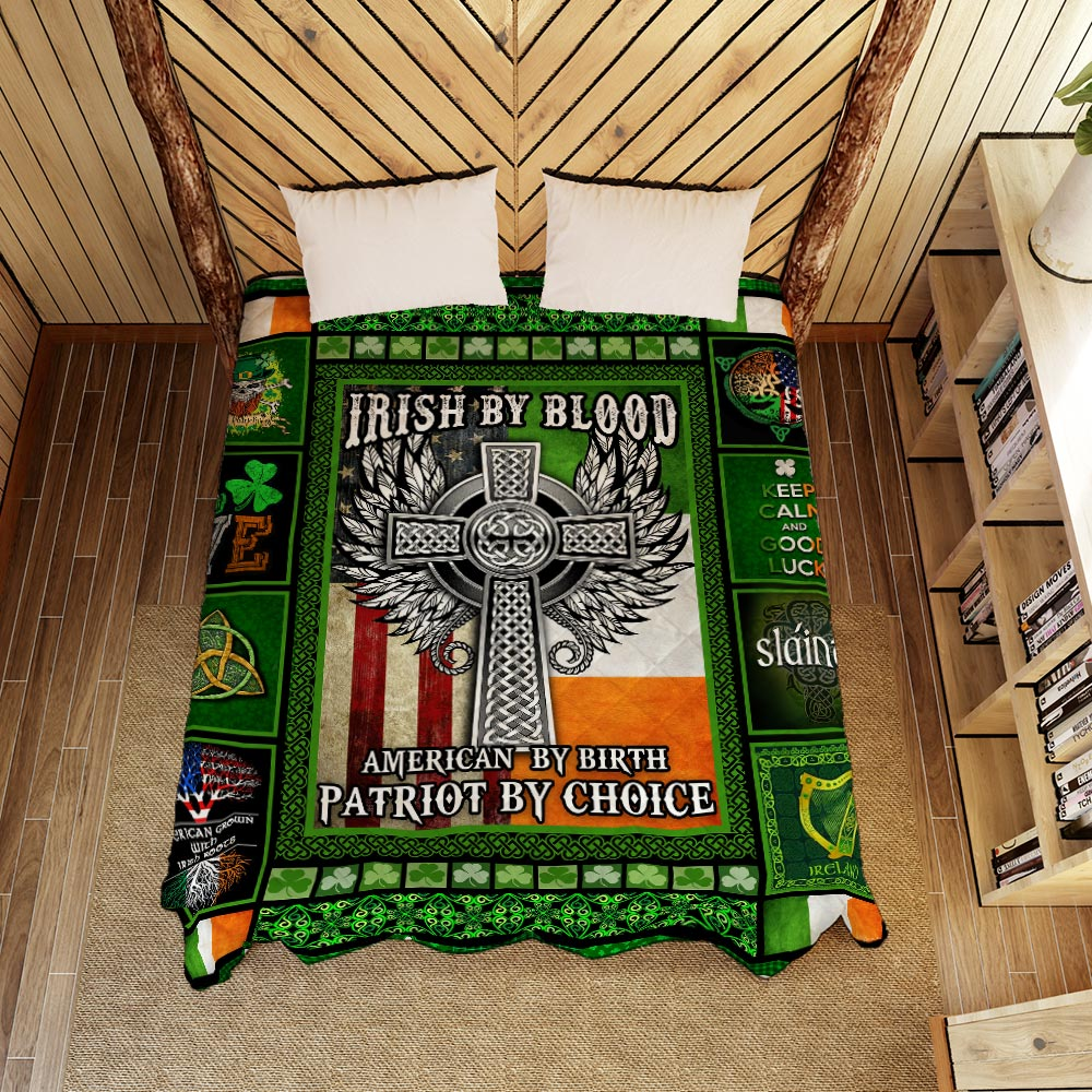 irish by blood american by birth patriot by choice all over printed quilt 5