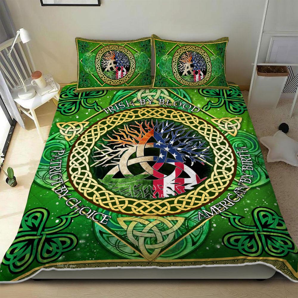 irish by blood american by birth patriot by choice irish celtic symbol bedding set 2