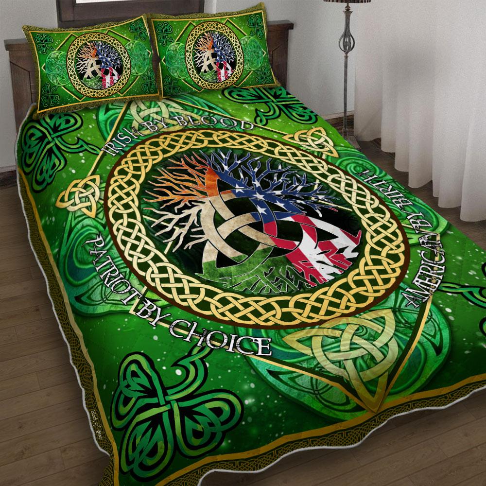 irish by blood american by birth patriot by choice irish celtic symbol bedding set 4