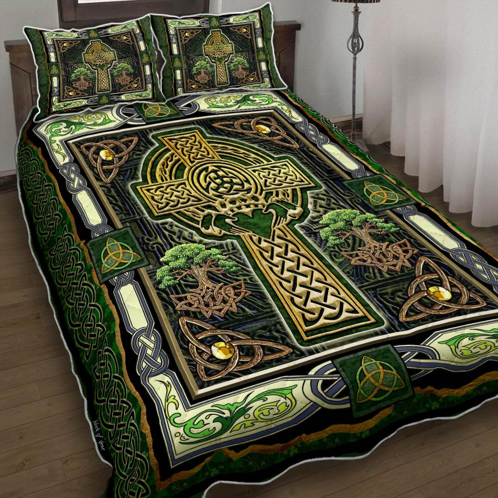 irish celtic cross st patricks day all over printed bedding set 2