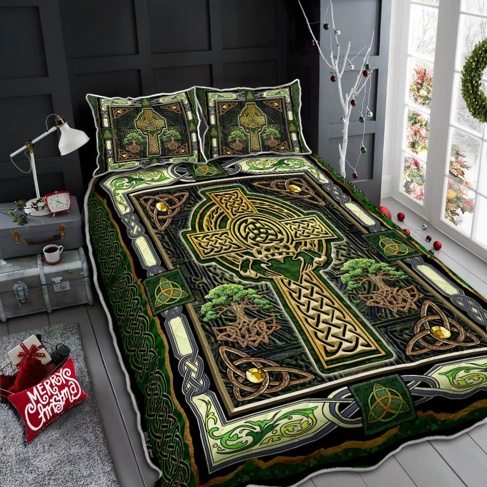 irish celtic cross st patricks day all over printed bedding set 4