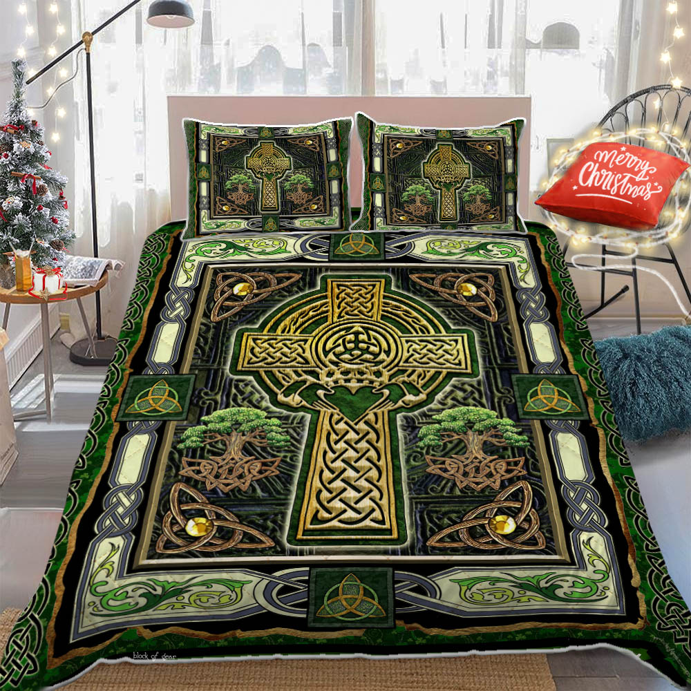 irish celtic cross st patricks day all over printed bedding set 5