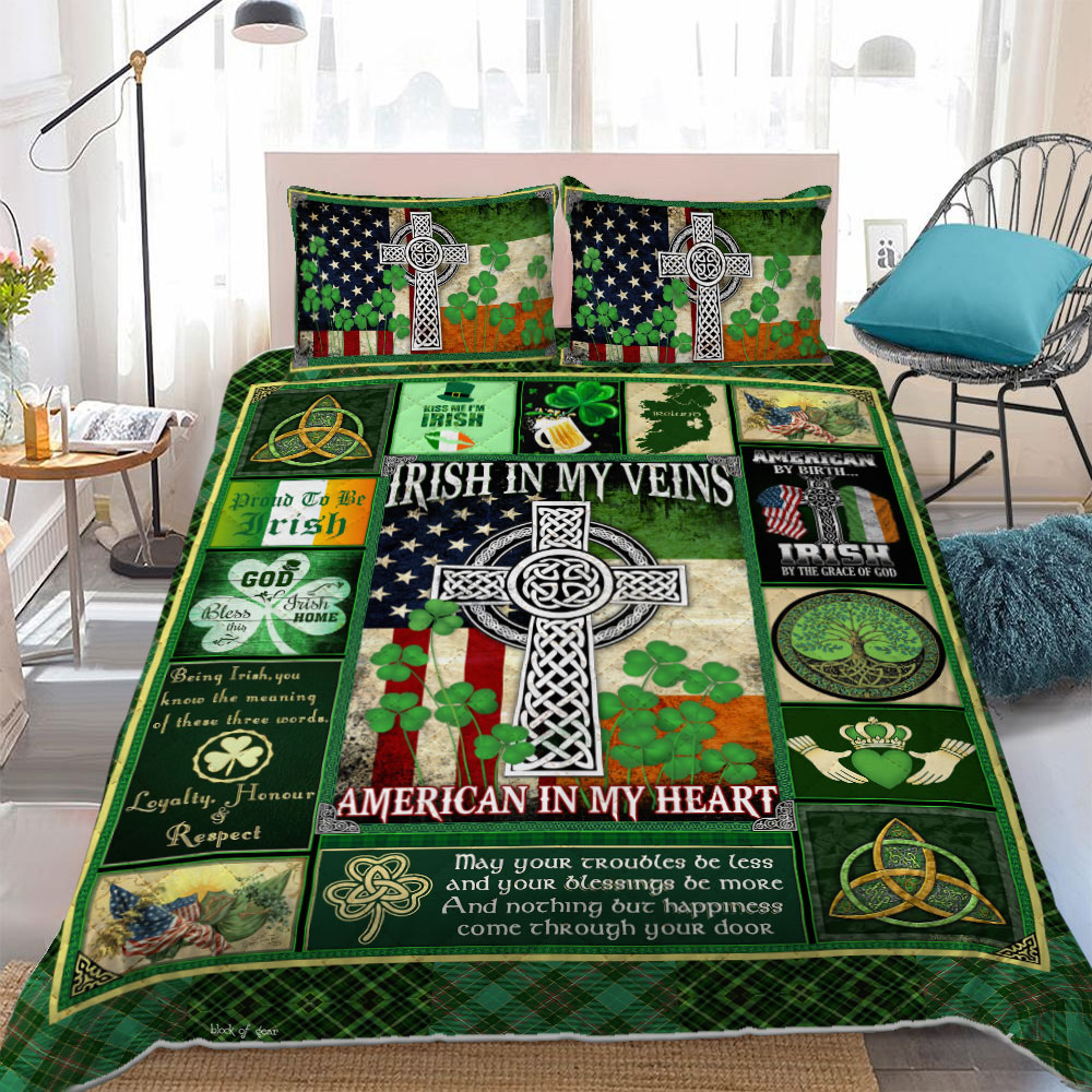 irish in my veins american in my heart st patricks day bedding set 3