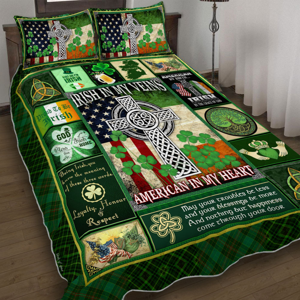irish in my veins american in my heart st patricks day bedding set 4