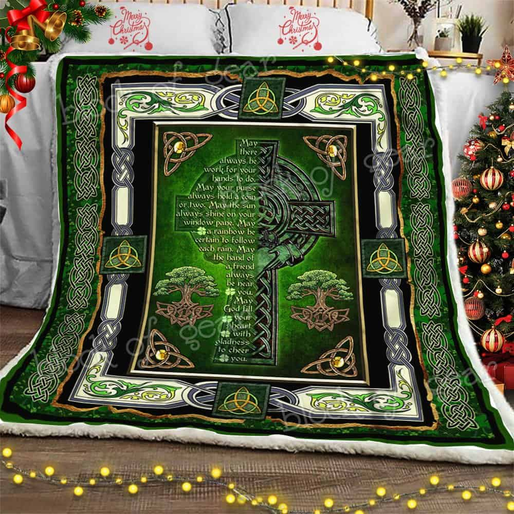 may God fill your heart with gladness to cheer you irish celtic cross blanket 2