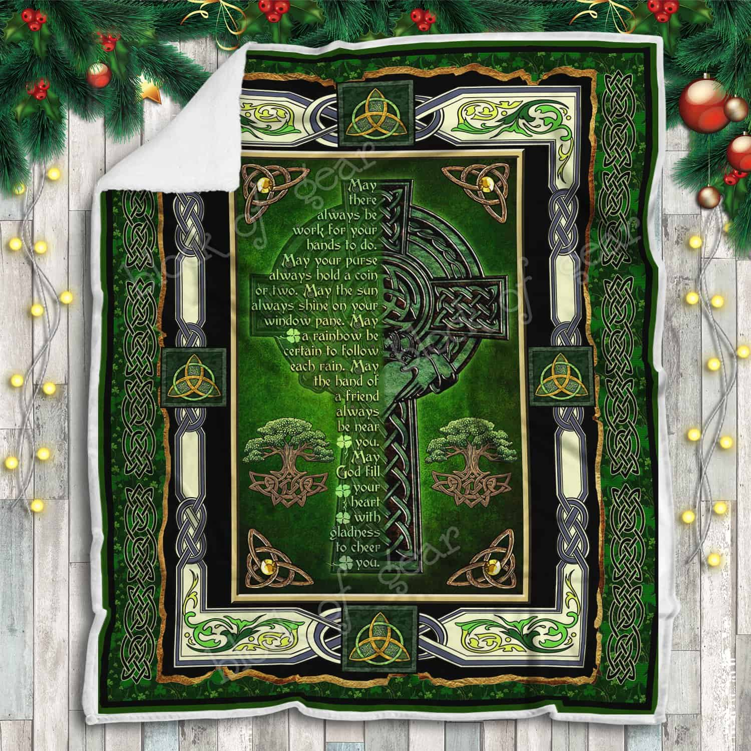 may God fill your heart with gladness to cheer you irish celtic cross blanket 5