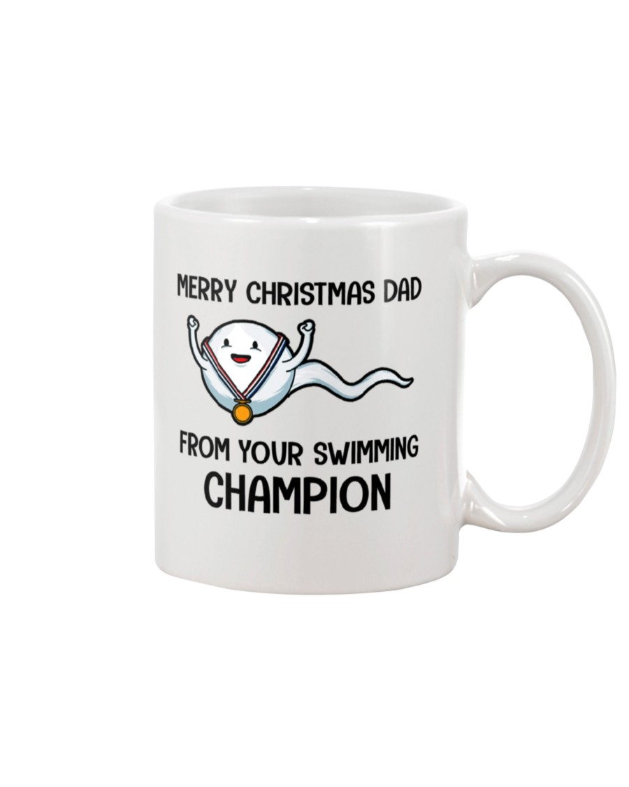 merry christmas dad from your swimming champion mug 2