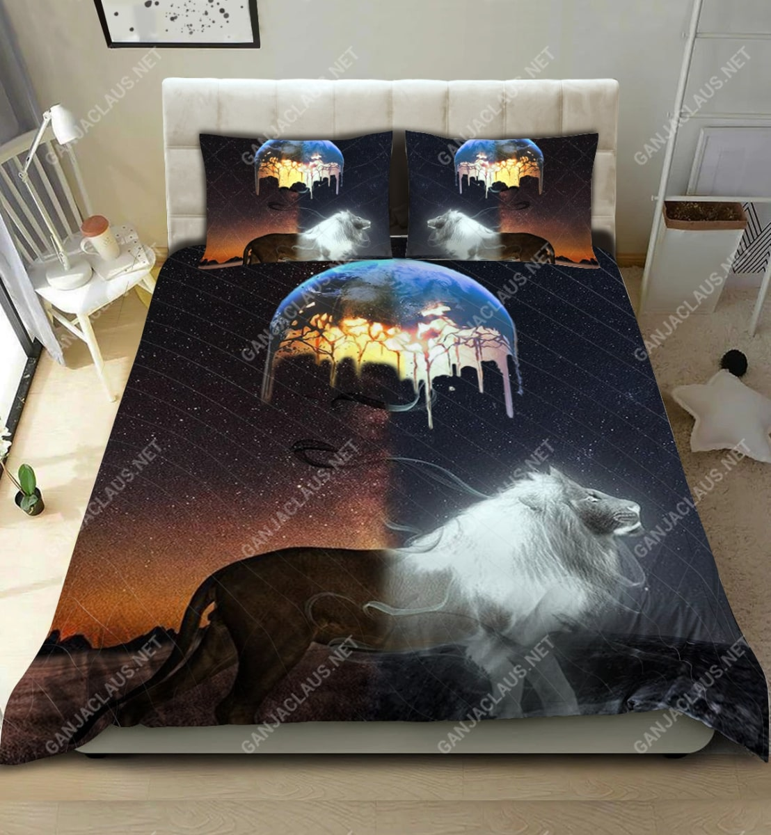 moon and lion full printing bedding set 2