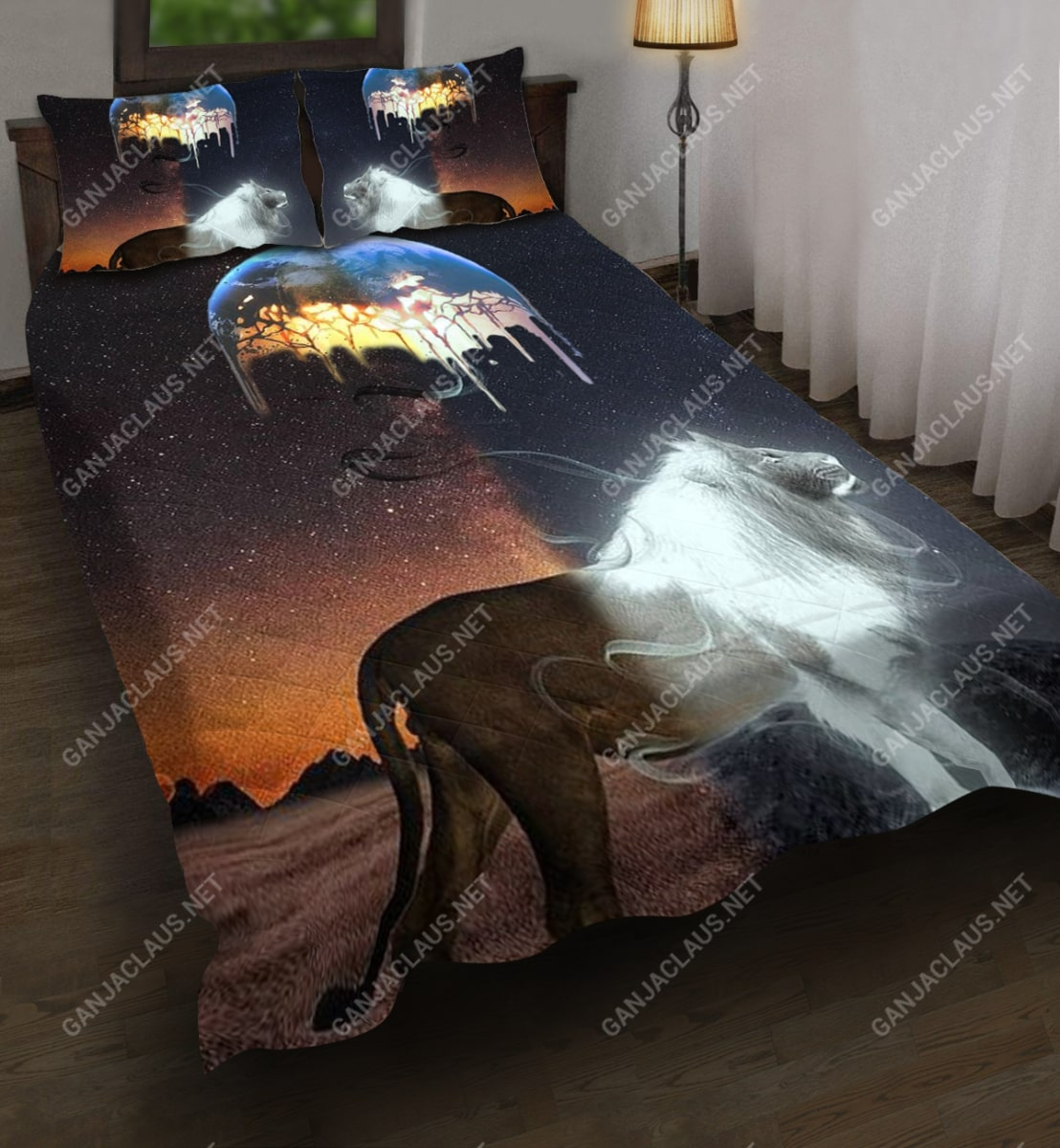 moon and lion full printing bedding set 3