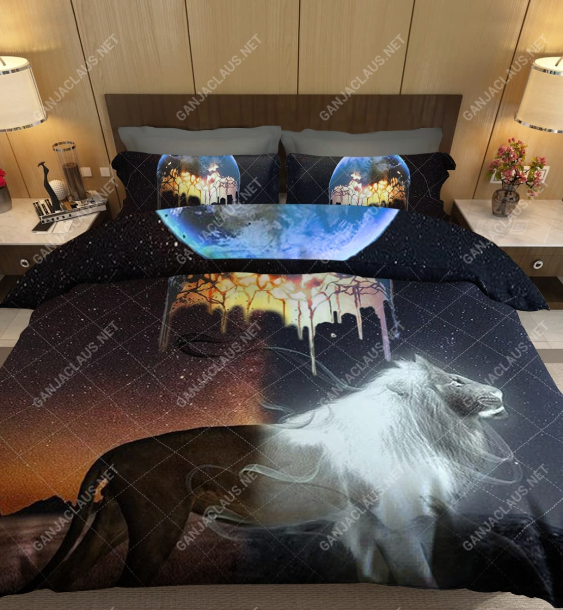 moon and lion full printing bedding set 5