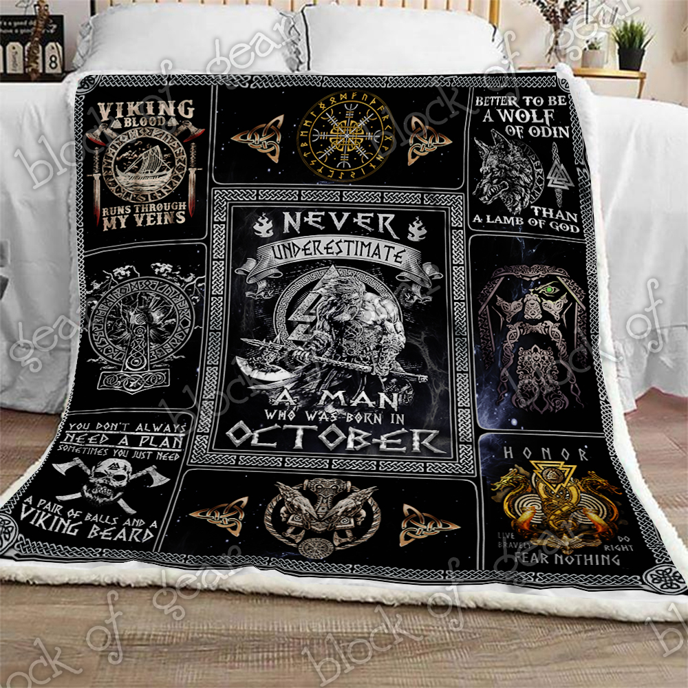 never underestimate a man who was born in october viking blanket 2