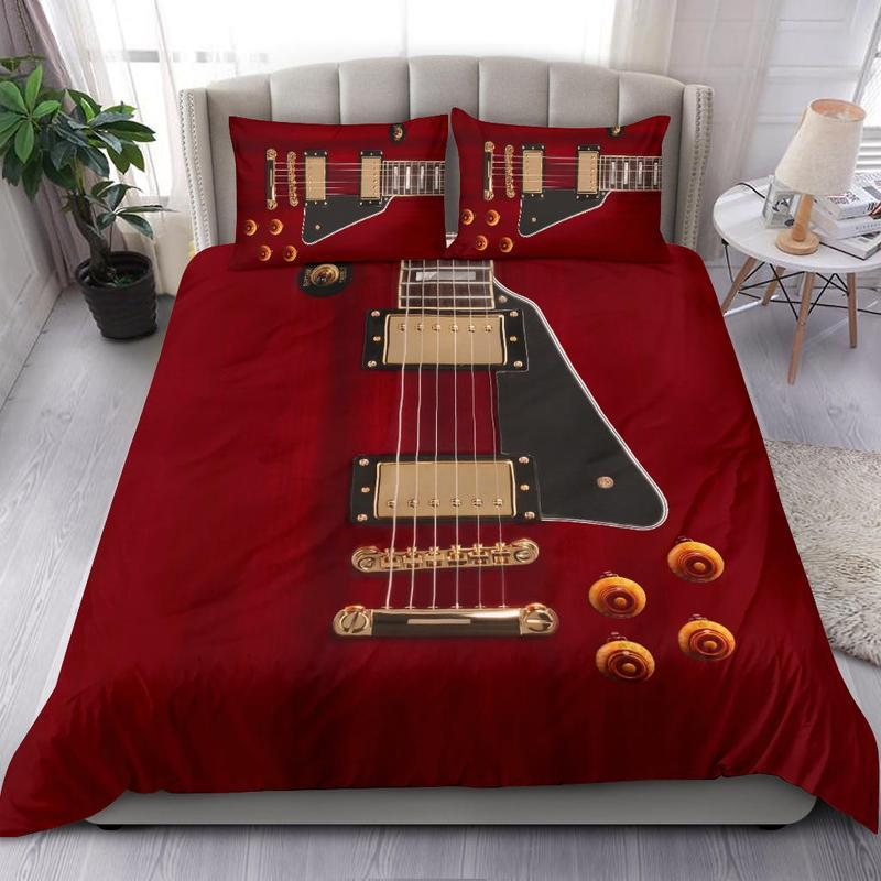 red guitar all over printed bedding set 3