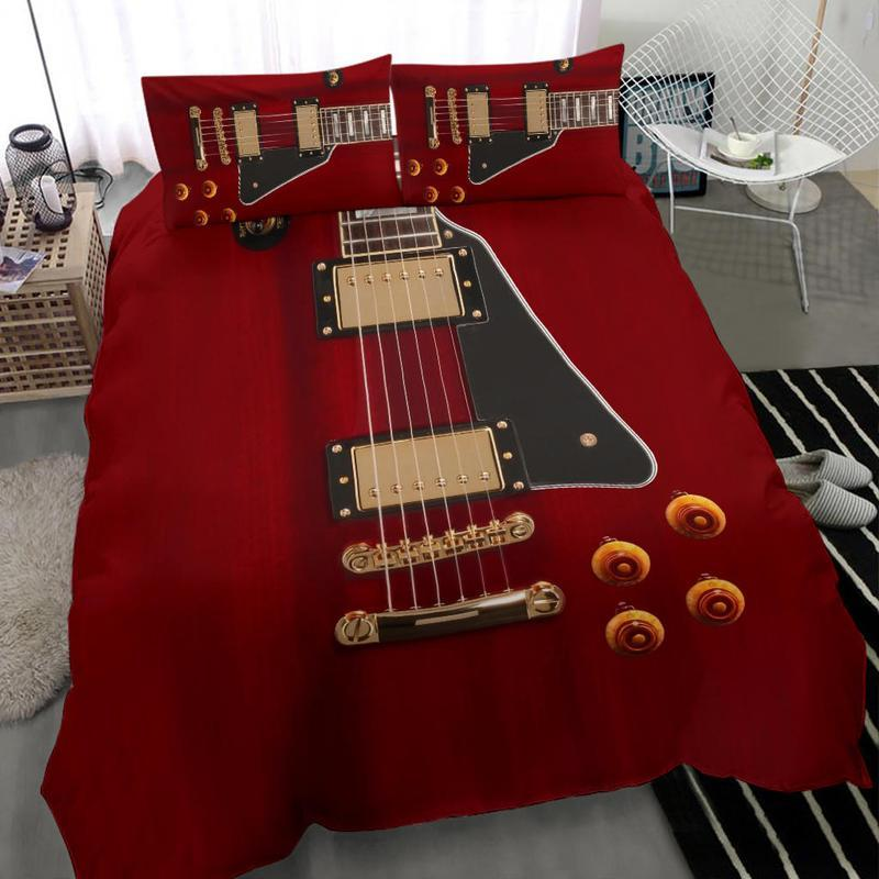 red guitar all over printed bedding set 4