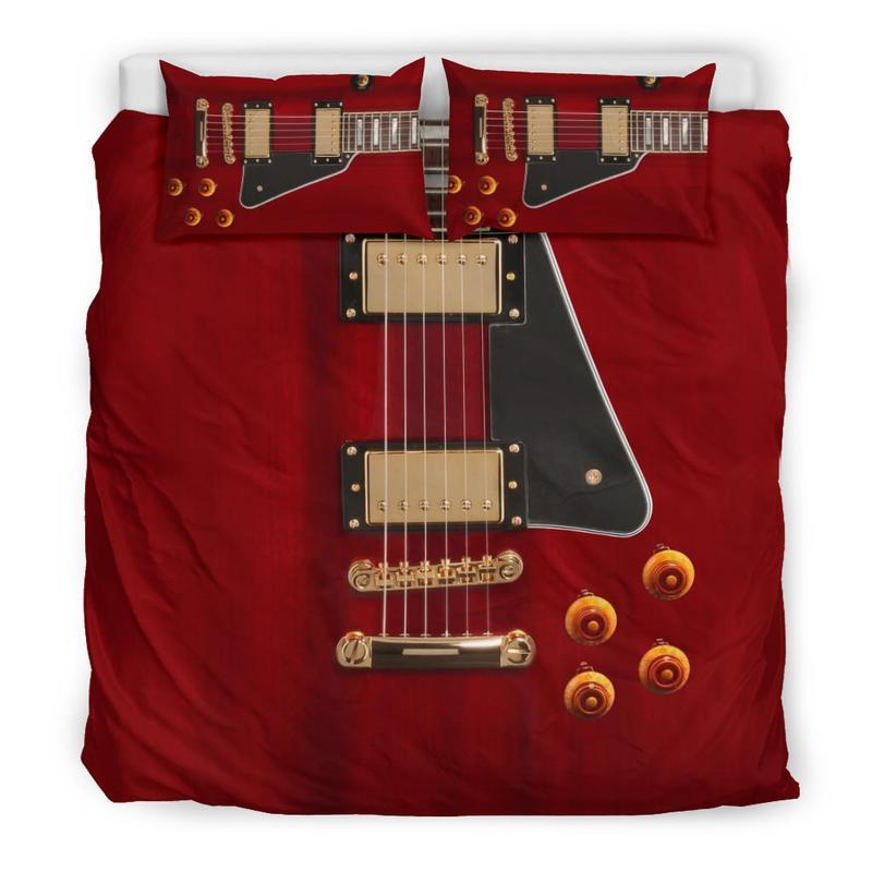 red guitar all over printed bedding set 5