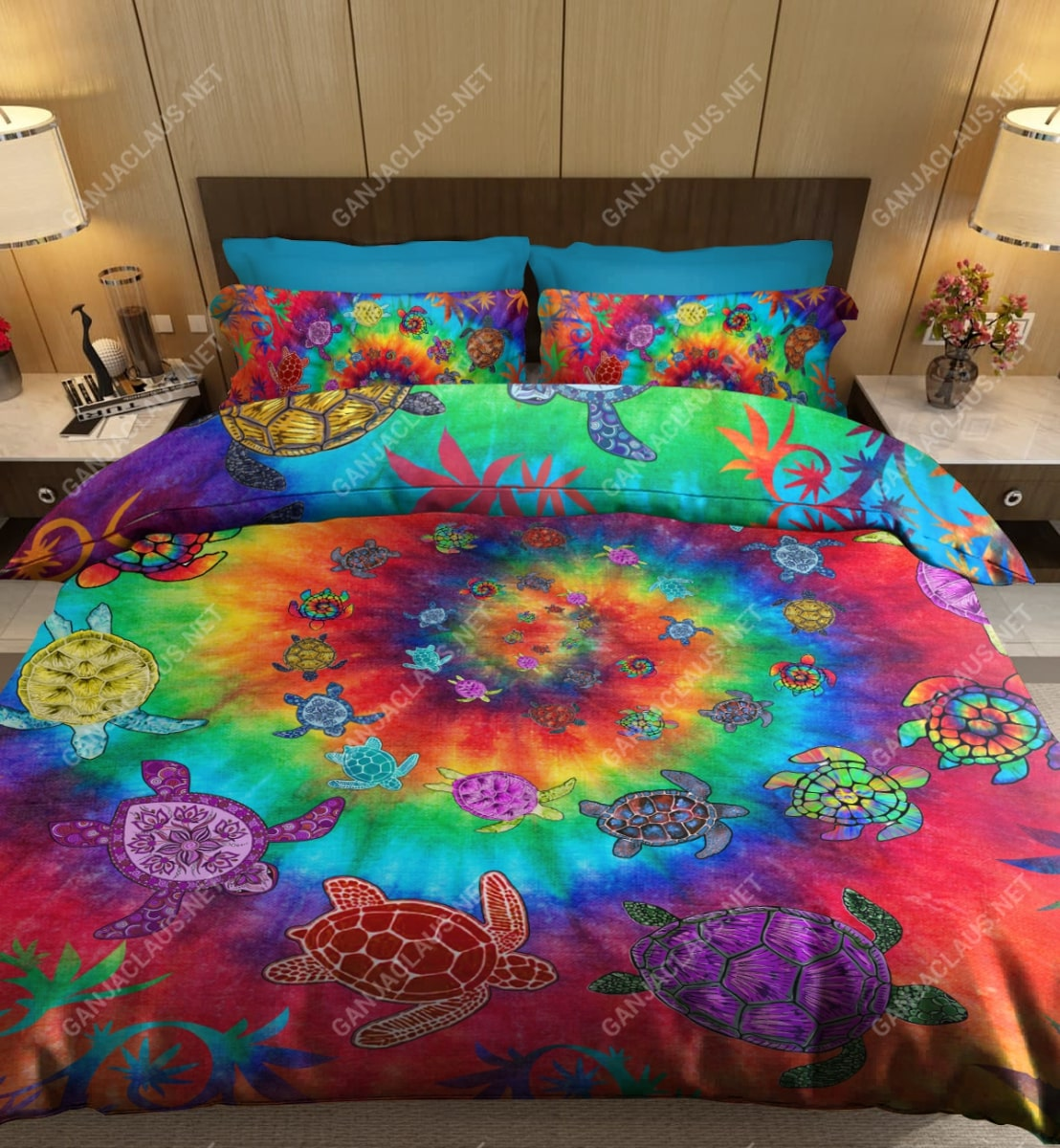 sea turtle tie dye full printing bedding set 3