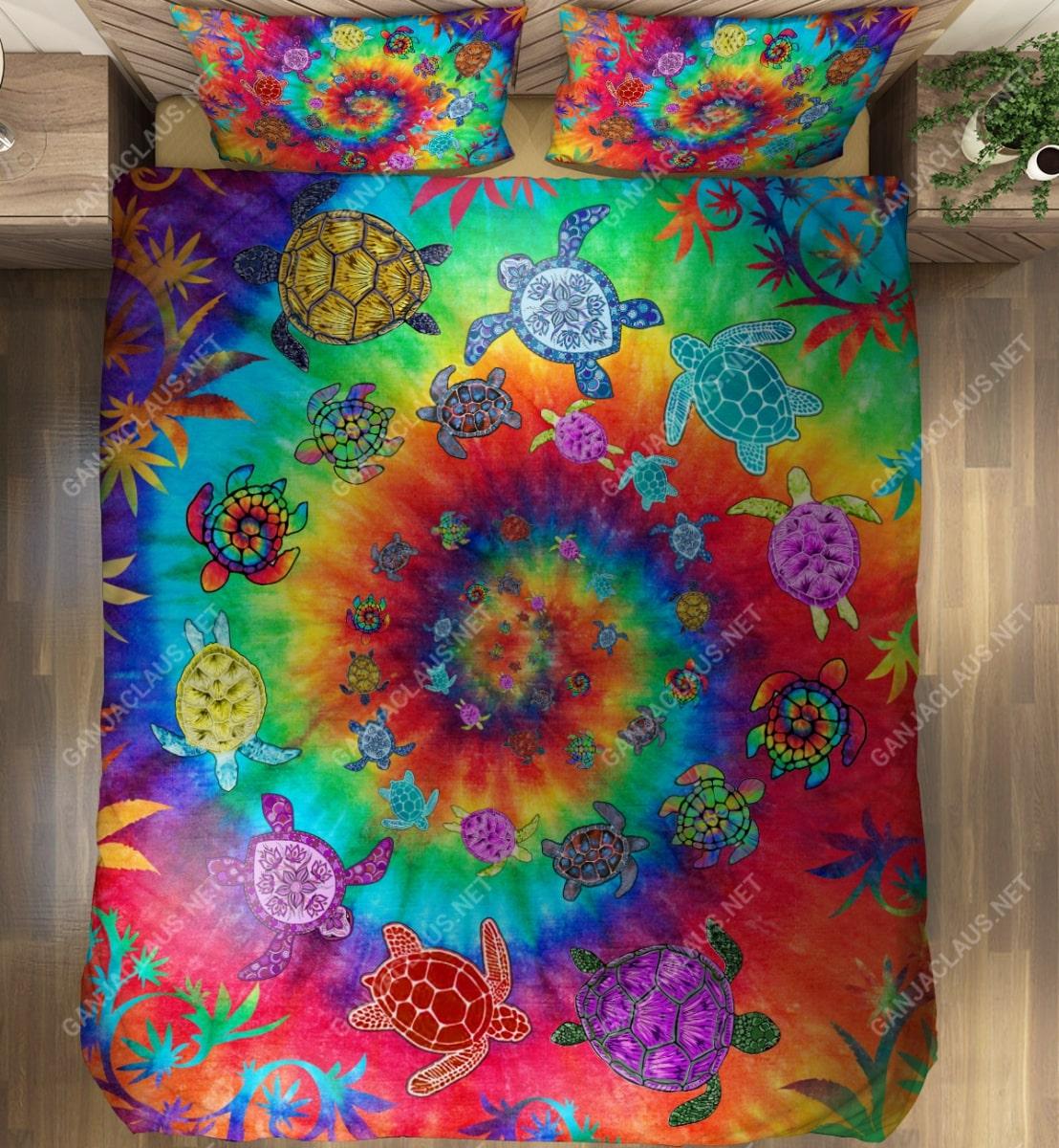 sea turtle tie dye full printing bedding set 4