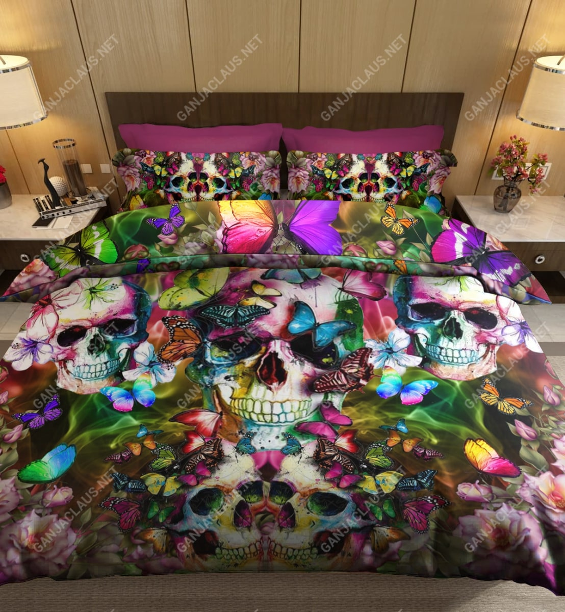 skull and butterfly full printing bedding set 4